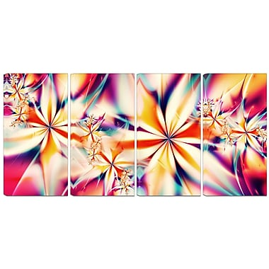 Designart Crystalize Pink 4-Panel Abstract Canvas Art Print, (PT3013-271)