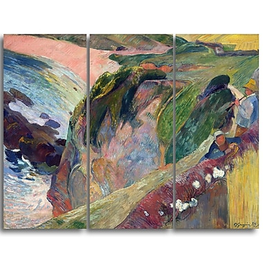 Designart Paul Gauguin, The Flageolet Player on the Cliff Landscape Canvas Art Print, (PT4410-3P)