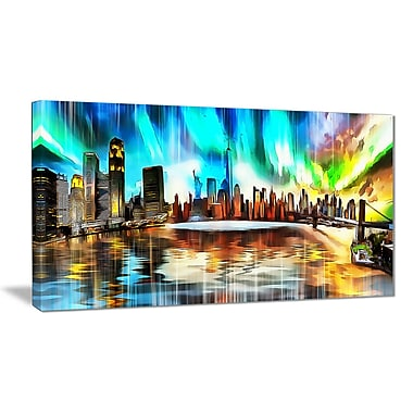 Designart Colourful New York Cityscape Canvas Art Print, (PT3307-32-16)