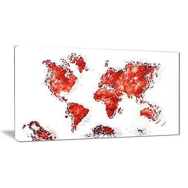 Designart Red Map Canvas Art Print, (PT2708-5-32-16)