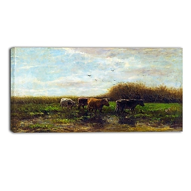 Designart Willem Maris, Cows at Evening Canvas Art Print, (PT4997-32-16)