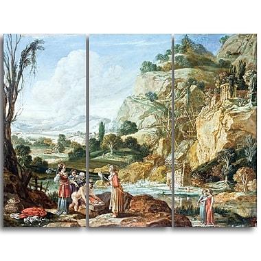 Designart Bartholomeus Breenbergh, The Finding of Moses Master Piece Landscape Artwork, (PT4169-3P)