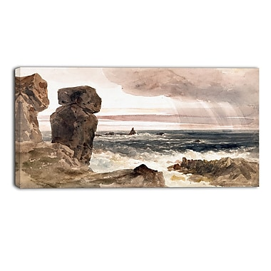 Designart Peter DeWint, Seascape with Rocks Sea & Shore Canvas Artwork, (PT4835-32-16)
