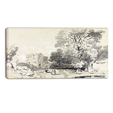 Designart Edward Lear, A Ruined Tower House Landscape Canvas Art Print, (PT4337-32-16)