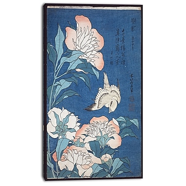Designart Katsushika Hokusai, Peonies and Canary Canvas Art Print, 3 Panels, (PT4690-20-40)