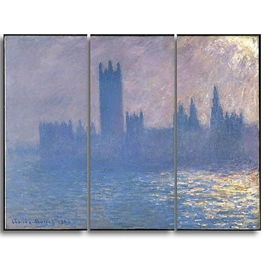 Designart Claude Monet, Houses of Parliament Landscape Canvas Arwork, (PT4267-3P)