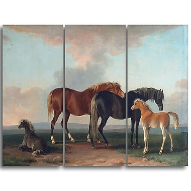 Designart Sawrey Gilpin, Mares and Foals Animal Canvas Art, (PT4922-3P)