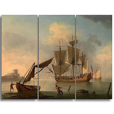 Designart Francis Swaine, An English Sloop Becalmed Canvas Art Print, (PT4388-3P)