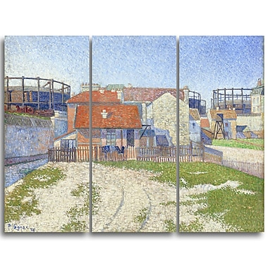 Designart Paul Sandby, Gasometers at Clicy Large Sea & Shore Canvas Art, (PT4815-3P)