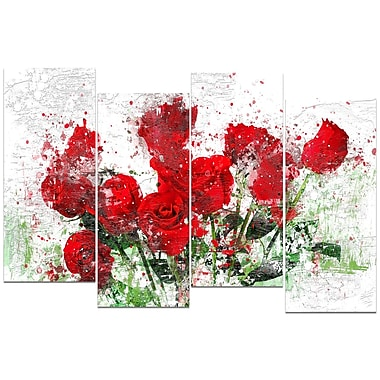 Designart Bed of Roses Canvas Art, (PT3408-271)