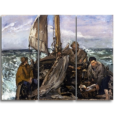 Designart Edouard Manet, The Toilers of the Sea Canvas Art Print, (PT4319-3P)