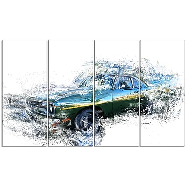 Designart Blue and Green Muscle Car, 4 Piece Gallery-Wrapped Canvas, (PT2633-271)