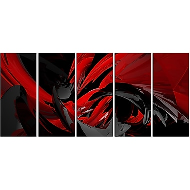 Designart Red and Grey Mixer Contemporary Canvas Art, (PT3049-401)