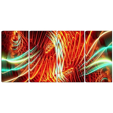 Designart Light Show 4-Panel Abstract Canvas Art Print, (PT3021-271)