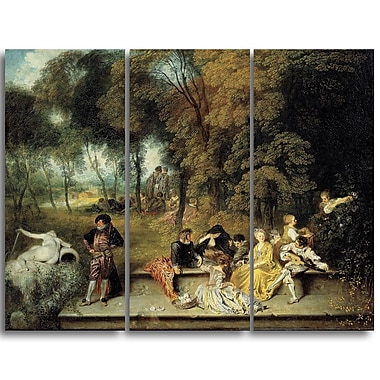 Designart Antoine Watteau, Pleasures of Love Master Piece Landscape Artwork, (PT4142-3P)