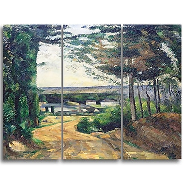 Designart Paul Cezanne, Road Leading to the Lake Canvas Art Print, 3 Panels, (PT4772-3P)