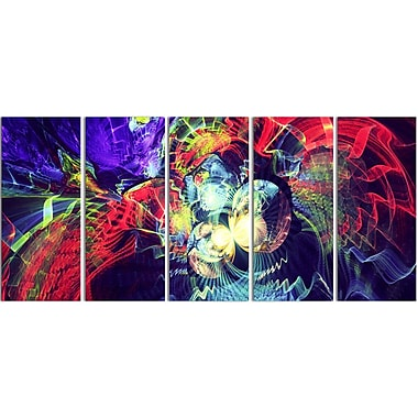 Designart Colour Collision 5-Panel Modern Canvas Art Print, (PT3078-401)