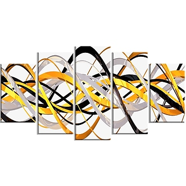 Designart Grey and Gold Waves Canvas Art Print, (PT3043-373)