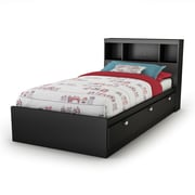 South Shore Spark  Twin Mates Bed with Drawers and Bookcase Headboard (39'') Set, Pure Black