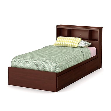 South Shore Little Treasures Twin Mates Bed with Drawers and Bookcase Headboard (39'') Set, Royal Cherry