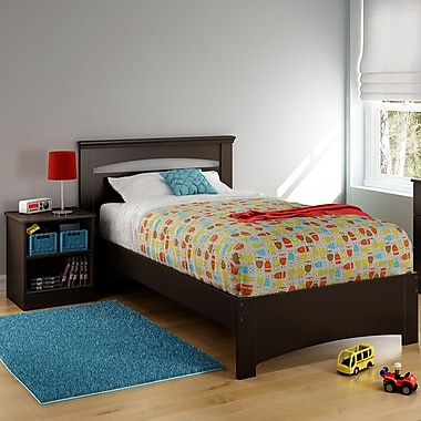 South Shore Libra Twin Bed Set (39'') with Nightstand, Chocolate , 79'' (L) x 44'' (D) x 36.25'' (H)