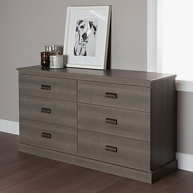 South Shore Gloria 6-Drawer Double Dresser, Grey Maple , 57.9'' (L) x 16.9'' (D) x 35.6'' (H)