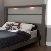 "South Shore Gloria King Headboard (78"") with Lights, Grey Maple"