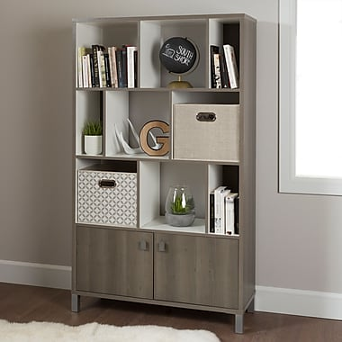 South Shore Expoz 9-Cube Shelving Unit with Doors, Grey Maple and Pure White , 38.5'' (L) x 14.5'' (D) x 65.25'' (H)