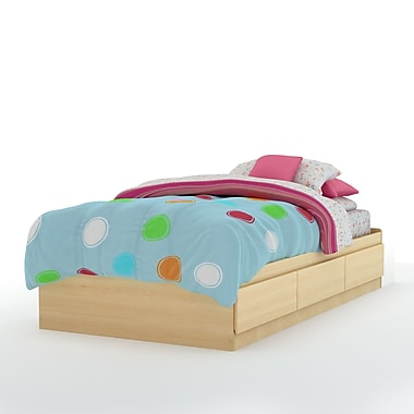 South Shore Popular Twin Mates Bed (39'') with Drawer, Natural Maple , 76.5'' (L) x 41'' (D) x 14.5'' (H)