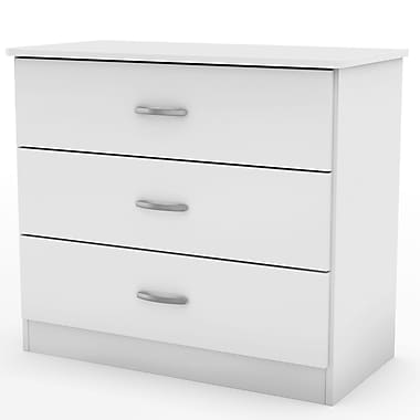 South Shore – Commode à 3 tiroirs Libra, blanc pur, 31 larg. x 16,25 prof. x 28,75 haut. (po)
