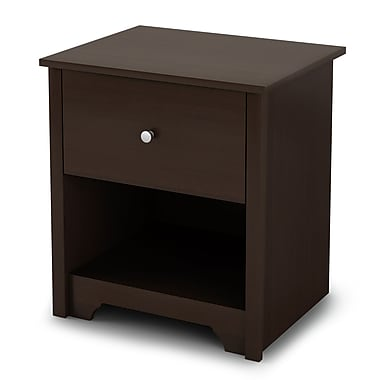 South Shore Vito 1-Drawer Nightstand, Chocolate , 21.25'' (L) x 17'' (D) x 23.25'' (H)