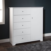 South Shore Vito Door Chest with 5 Drawers, Pure White , 47.6'' (L) x 18'' (D) x 50.75'' (H)