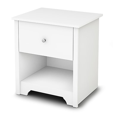 South Shore Vito 1-Drawer Nightstand, Pure White , 21.25'' (L) x 17'' (D) x 23.25'' (H)