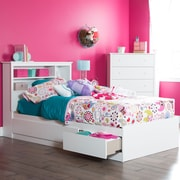 "South Shore Vito Twin Mates Bed (39"") with 3 Drawers, Pure White , 76.5'' (L) x 40.5'' (D) x 13.75'' (H)"