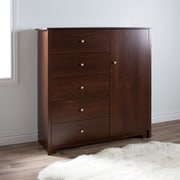 South Shore Vito Door Chest with 5 Drawers, Sumptuous Cherry , 47.6'' (L) x 18'' (D) x 50.75'' (H)