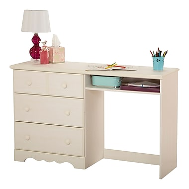 South Shore Summer Breeze Desk with 3 Drawers, White Wash , 52'' (L) x 15.75'' (D) x 31.75'' (H)