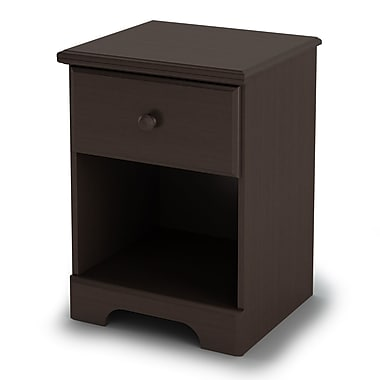 South Shore Summer Breeze 1-Drawer Nightstand, Chocolate , 18'' (L) x 16'' (D) x 24'' (H)