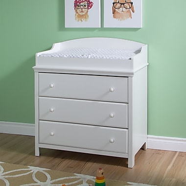 South Shore Cotton Candy Changing Table with Drawers, Pure White