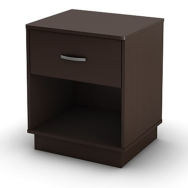 South Shore Logik 1-Drawer Nightstand, Chocolate , 19.5'' (L) x 16.5'' (D) x 23.25'' (H)