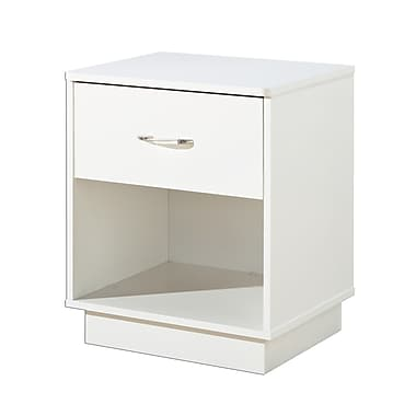 South Shore – Table de chevet à 1 tiroir Logik, blanc pur, 19,5 larg. x 16,5 prof. x 23,25 haut. (po)