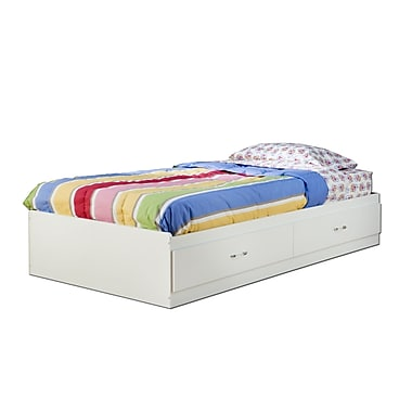 South Shore Logik Twin Mates Bed (39'') with 2 Drawers, Pure White , 76.25'' (L) x 40.25'' (D) x 13.75'' (H)