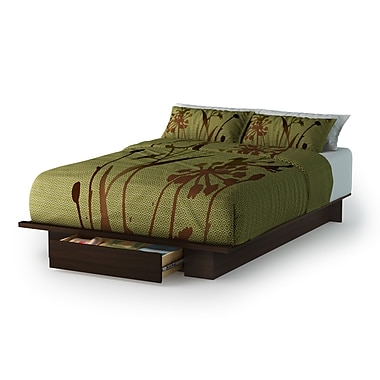 South Shore Holland Full/Queen Platform Bed (54/60'') with drawer, Mocha