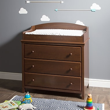 South Shore Cotton Candy Changing Table with Drawers, Sumptuous Cherry