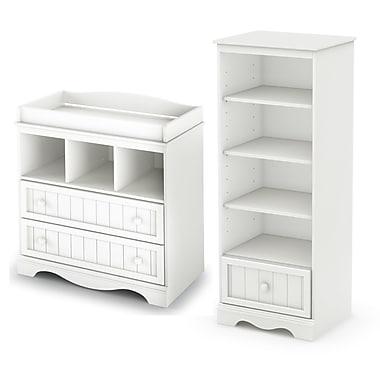 South Shore – Table à langer et étagère avec tiroir Savannah, blanc pur, 35 larg. x 20 prof. x 53,5 haut. (po)
