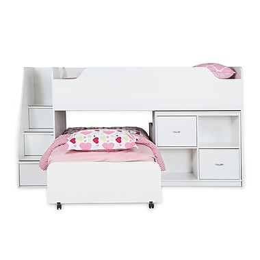 South Shore Mobby Twin Loft Bed with Trundle and Storage Unit, Pure White , 93.5'' (L) x 46.25'' (D) x 49.5'' (H)