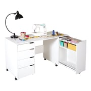 South Shore Crea Sewing Craft Table on Wheels, Pure White (7550728)