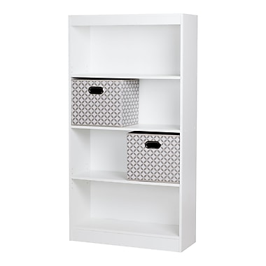 South Shore Axess Pure White 4-Shelf Bookcase with 2 Fabric Storage Baskets , 30.75'' (L) x 11.5'' (D) x 58'' (H)
