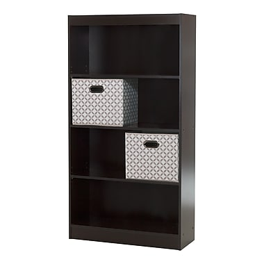 South Shore Axess Chocolate 4-Shelf Bookcase with 2 Fabric Storage Baskets , 30.75'' (L) x 11.5'' (D) x 58'' (H)