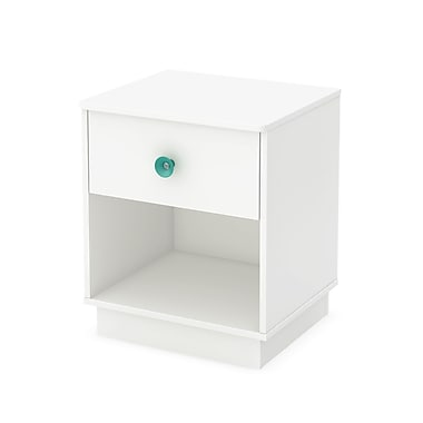 South Shore – Table de chevet à 1 tiroir Little Monsters, blanc pur, 19,5 larg. x 16,5 prof. x 23,25 haut. (po)