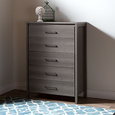 South Shore Gravity 5-Drawer Chest, Grey Maple , 31.38'' (L) x 16.5'' (D) x 45.75'' (H)